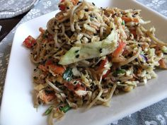 Sesame Noodle Salad from China Study cookbook.  Super yummy and a great dish to take to a picnic.  Vegan.  Recipe found here: http://realafricandishes.blogspot.com/2013/07/mc-allethnic-recipes-china-study-sesame.html
