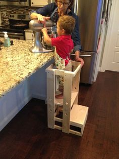 Your childs safety is worth every penny spent on this Tot Tower. Our Childs Kitchen Helper Step Stool stands 32 tall, 15 1/2 inches wide and the base is 17 1/2  deep. This is perfect for your toddler as they shadow you in their curiosity to learn - in the kitchen, at the bathroom sink, dads workbench or anywhere to get your child to counter height safely. It weighs in at only 14 pounds and is easy for your toddler to move. There are three height adjustments so as your child grows ta...