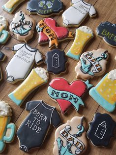 A beer and motorcycle themed cookie set for a baby shower