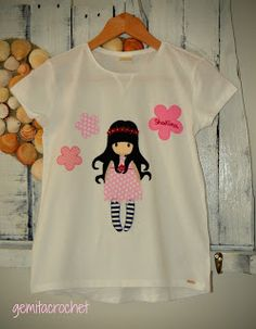 GEMITA CROCHET : Camisetas personalizadas estilo gorjuss, patchwork Shakira, Pach Aplique, Applique Templates, Amigurumi Doll, Fabric Painting, Embroidery Stitches, Sewing Projects, Monogram, T Shirts For Women