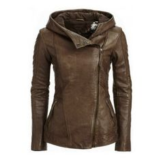 Stylish Hooded Long Sleeve Solid Color Women Leather Retro Jacket (170 PEN) ❤ liked on Polyvore featuring outerwear, jackets, coats, real leather jackets, 100 leather jacket, retro leather jacket, genuine leather jackets and brown leather jackets