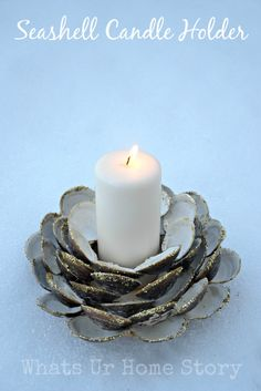 Save your Clam shells from trash and make this beautiful Seashell Candle Holder. www.whatsurhomestory.com