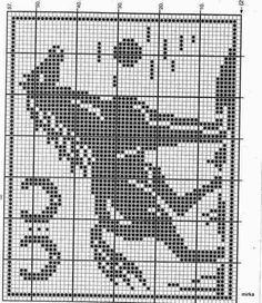 Risultati immagini per diagramme filet crochet Cross Stitch Horse, Cross Stitch Animals, Cross Stitch Charts, Cross Stitch Designs, Cross Stitch Patterns, Filet Crochet Charts, Crochet Doily Patterns, Knitting Charts, Crochet Motif