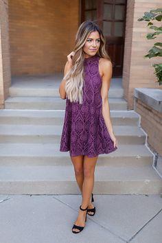Purple Lace Overlay Dress - Dottie Couture Boutique