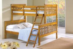Twin over Full Bunk Bed in Honey with removable ladder and FREE SHIPPING nationwide!  http://www.bunkbedkingdom.com/twin-over-full-mission-bunk-bed-honey/