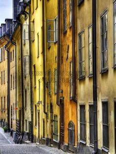 OLD TOWN BUILDINGS ARCHITECTURE YELLOW ART PRINT POSTER PICTURE BMP573A