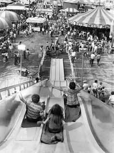It's a long way to the bottom in this view from the top of the giant slide on the State Fair midway in 1981.