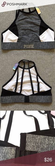 1-HOUR SALE VS Pink Sports Bra Cute high neck sports bra. Regular bra closure in the back. Adjustable shoulder straps that cross in the back. Grey, black and white in color. PINK Victoria's Secret Intimates & Sleepwear Bras