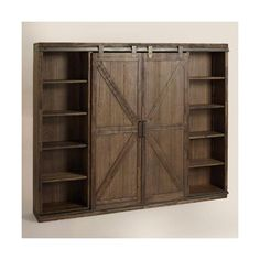 A substantial storage solution with adjustable and removable shelving, our bookshelf is crafted of distressed solid wood with rustic metal accents that give it the look of an old barn door. Into The Woods, Barn Door Bookcase, Barn Door Tv Cabinet, Barn Door Media Console, Bookcase Closet, Rustic Bookcase, Barn Door Pantry, Office Bookshelves, Furniture Plans