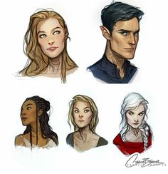 Feyre, Rhys , Nehemia, Aelin and Manon A Court of mist and fury and Throne of glass by Sarah J Maas