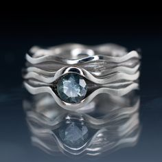 Wave Fair Trade Green / Blue Sapphire Engagement Ring Bridal Set | Nodeform