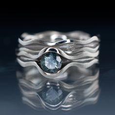 Wave Fair Trade Green / Blue Sapphire Engagement Ring Bridal Set   Nodeform
