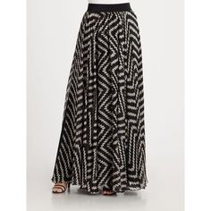 Milly Luca black and white patterned Silk Maxi Skirt ($525) ❤ liked on Polyvore