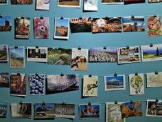 postcard wall - have 'regulars' bring back postcards from their travels to display.