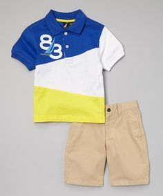 Look at this #zulilyfind! Royal Blue & Yellow Polo & Shorts - Infant, Toddler & Boys by Nautica #zulilyfinds