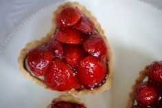These Valentine Tartes Aux Fruits have a lovely short base, lined with dark chocolate and filled with the most amazing tasting, Grand Marnier Creme Diplomate, and topped with your choice of Glazed Raspberries, Cherries, or Strawberries. They taste as good as you'll get in a French Patisserie, from my memory! I'm proud of these babies!
