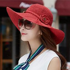 Summer flower wide brim straw hat for women beach package sun hats