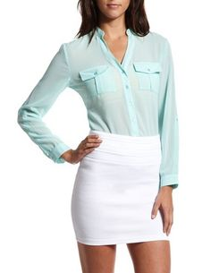 Button-Down Utility Top: Charlotte Russe