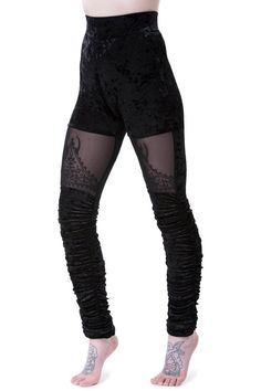 Nightshade Velvet Leggings [B] | KILLSTAR Crushin' on the lush velvet body with accent mesh panels; the 'Nightshade' leggings adds an elegant touch to your wardrobe. Soft luxe velvet - in a perfect stretch so the fit is licked to your pins, mesh panels with black-on-black statement embroidery, ruching to the lower legs and wide waistband. A perfect piece to infuse some magic and texture to your everyday; night or day.Match with yer fav tops - looks killer with knitwear.