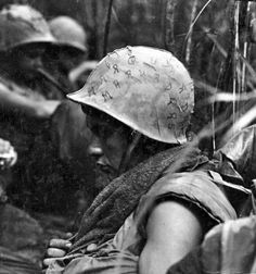A Marine takes a well-earned break during a lull in fighting near Da Nang, July 1967 (LCPL D.J. Brusch/Marine Corps/National Archives)