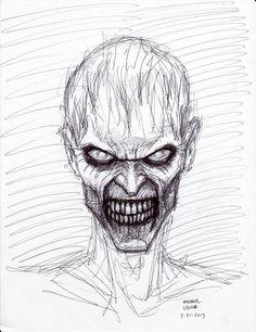 Zombie Pen Sketch by myconius - ART❤️Zombie Pen Sketch by myconius Creepy Sketches, Zombie Drawings, Creepy Drawings, Dark Art Drawings, Art Drawings Sketches, Cool Drawings, Zombie Drawing Easy, Horror Drawing, Horror Art