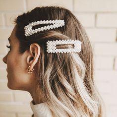 Hair Accessories - Anna Sönksen - Hair Accessories Find fabulous hair accessories at SugarAndVapor. From trendy hair clips, hairpins to headbands. Shop the trendy statement rhinestone words hairpins and pearls hair clips in SugarAndVapor. Clip Hairstyles, Bandana Hairstyles, Trendy Hairstyles, Braided Hairstyles, Summer Hairstyles, Straight Hairstyles, Wedding Hairstyles, Hair Accessories For Women, Trendy Accessories