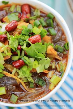 Hot and Sour Sweet Potato Noodles