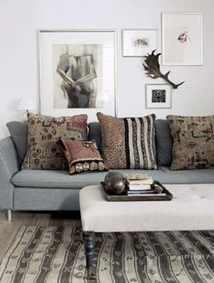 Interesting pillows and art