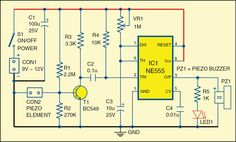 Circuit of the glass break alarm Electronics For You, Electronics Projects, Hack Internet, Power Supply Circuit, Smart Home Automation, Shattered Glass, Circuit Diagram, Technology, How To Plan