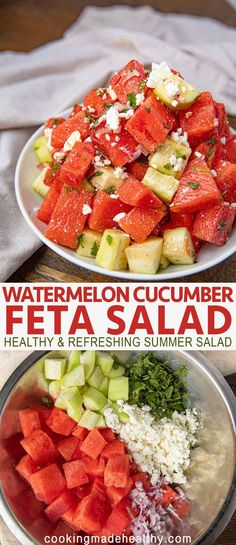 Easy Watermelon Cucumber Feta Salad - Cooking Made Healthy
