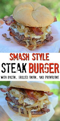Smash style steak burger featuring Certified Angus Beef cubed sirloin steaks for Smash Steak Burgers with Bacon, Grilled Onions, and Provolone - Smash Style Steak Burger with Bacon, Grilled Onion, and Provolone featuring Certified Angus Beef for Steak Burger Recipe, Grilled Steak Recipes, Grilling Recipes, Beef Recipes, Cooking Recipes, Hamburger Recipes, Griddle Recipes, Steak Sandwiches, Grilled Cheeses