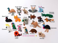 Not available, no pic - useful for inspration AUSTRALIAN ANIMALS felt magnets - Kangaroo Koala Echidna Dingo Numbat Wombat Emu Cassowary Platypus Quokka Cockatoo Bat Black swan etc. Australian Gifts, Australian Animals, Australian Nursery, Fabric Toys, Felt Fabric, Felt Animals, Animals For Kids, Aussie Christmas, Felt Finger Puppets