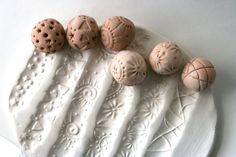 TWO Clay Ball Stamps, Gift Set, Sculpture Roller, Random Pattern, Hand Carved…