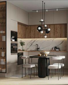 Kitchen Room Design, Home Room Design, Modern Kitchen Design, Living Room Kitchen, Home Decor Kitchen, Interior Design Kitchen, Kitchen Furniture, Modern New Kitchens, Modern Kitchen Interiors