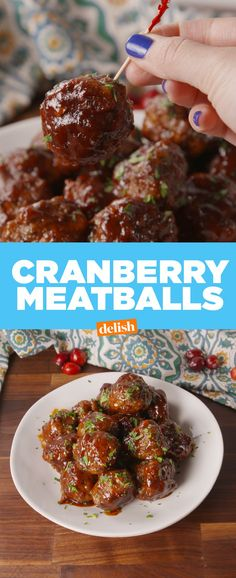 Cranberry Meatballs from Delish Potluck Recipes, Appetizer Recipes, Beef Recipes, Holiday Recipes, Cooking Recipes, Party Appetizers, Meatball Recipes, Bulk Cooking, Meatball Sauce
