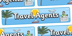 Twinkl Resources >> Travel Agents Display Banner  >> Thousands of printable primary teaching resources for EYFS, KS1, KS2 and beyond! travel agent, holiday, travel, display, posters, freize, holidays, agent, booking, plane, flight, hotel, Primary Teaching, Teaching English, Teaching Resources, Display Banners, Spanish 1, Role Play, Eyfs, Best Teacher, Professional Development
