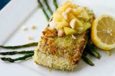 Macadamia crusted mahi mahi with a mango/pineapple/coconut salsa