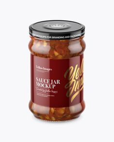 Clear Glass Jar with Bruschetta Sauce Mockup (High-Angle Shot)