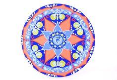 Mandala del chakra Vishuddha dipinto a mano. Per la concentrazione e la creatività. Quinto chakra della gola. Blu, azzurro, vermiglione.