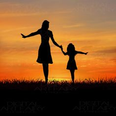 Mother and Daughter Silhouette Mother And Daughter Drawing, Mother Art, Shadow Painting, Easy Canvas Painting, Mothers Day Drawings, Mother Painting, Silhouette Painting, Beginner Painting, Pastel Art