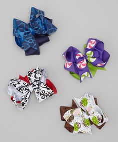 Take a look at this Lollipop & Damask Bow Clip Set by Chicky Kids by Chicky Chicky Bling Bling on #zulily today!