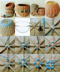Easy 20 Sewing tutorials tips are available on our website. Take a look and you wont be sorry you did. Rope Crafts, Diy Home Crafts, Handmade Crafts, Arts And Crafts, Paper Weaving, Loom Weaving, Willow Weaving, Basket Weaving, Pine Needle Baskets