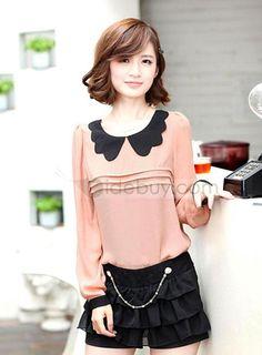 韓国風的 色ブロック 長袖 魅力的 シフォン  (10172146)