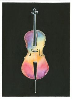 Rainbow Cello Painting  A print of an original by ArtworkByErinn, $28.00