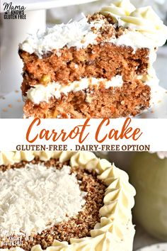 Super moist, deliciously spiced, gluten-free carrot cake with a cream cheese frosting. Recipe with a dairy-free option. Super moist, deliciously spiced, gluten-free carrot cake with a cream cheese frosting. Recipe with a dairy-free option. Gluten Free Carrot Cake, Gluten Free Cakes, Gluten Free Baking, Gluten Free Recipes, Gluten Free Spice Cake Recipe, Carrot Cakes, Gluten And Dairy Free Desserts Easy, Strawberry Recipes Gluten Free, Patisserie Sans Gluten