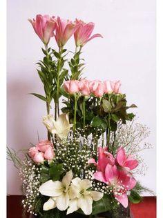 Pink Fountain - by Wardah Tropical Floral Arrangements, Creative Flower Arrangements, Church Flower Arrangements, Vase Arrangements, Beautiful Flower Arrangements, Tropical Flowers, Pink Flowers, Altar Flowers, Church Flowers
