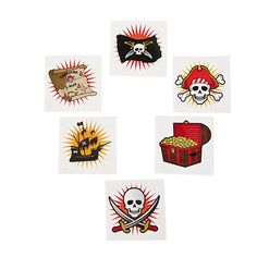 Pirate Tattoos  -OrientalTrading.com These tattoos could be put on kids who want them at the party.