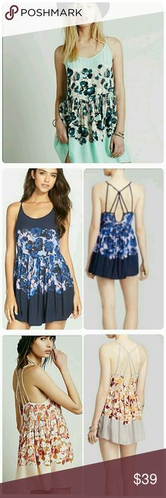 Intimately Free people strappy mint floral voile Mint floral, EUC, shown in other colors for detail. Free People Dresses
