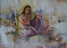 Woman Water color on paper by Ather Jamal Pakistani Artist. Size: 22 x 30 Woman Painting, Painting Art, History Of Pakistan, Artist Art, Homeland, Pakistani, Art Gallery, Sketches, Plant