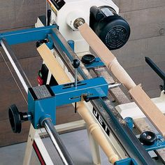 Lathe Duplicator - Create precise duplicates of spindles, table legs, and other turned projects. This Lathe Duplicator attaches easily to almost every floor-model lathe. The hand wheel allows for smooth operation while cutting.  Will duplicate to a m